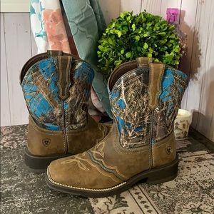 Ariat Sqaure Toe Blue Camo Boot